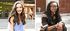 Hayley Himmelman (left) in front of New Trier High, and Jasmeen Wellere (right) in front of Hirsch Metropolitan High