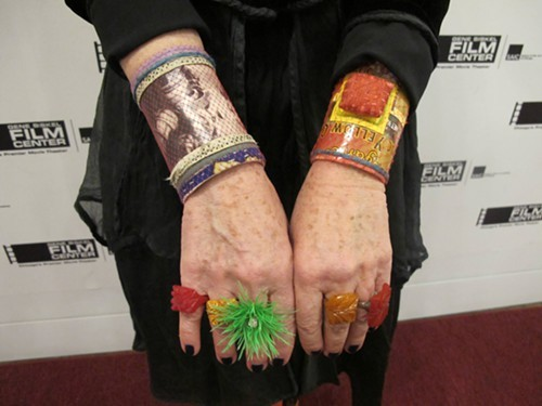 Her bracelets - made out of toilet paper rolls - are by Advanced Style star Debra Rapoport ...