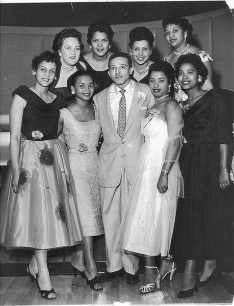 Herman Roberts at age 35, surrounded by women he employed at his nightclub - HERMANROBERTS.ORG