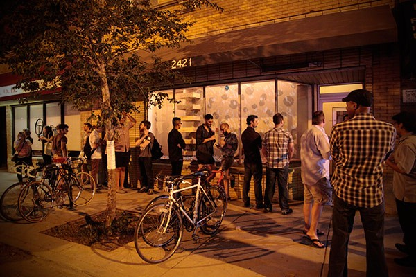 Hipsters waiting patiently to get inside the Whistler in Logan Square - ASHLEY LIMON