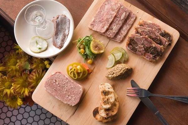 House-made charcuterie with a shot of genever, Dutch gin