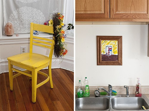 Painted chair with flowers and Diet Pepsi can painting - ANDREA BAUER