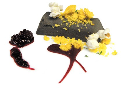 Huitlacoche-white chocolate cheesecake with popcorn, corn muffin crumble, and blackberry jam