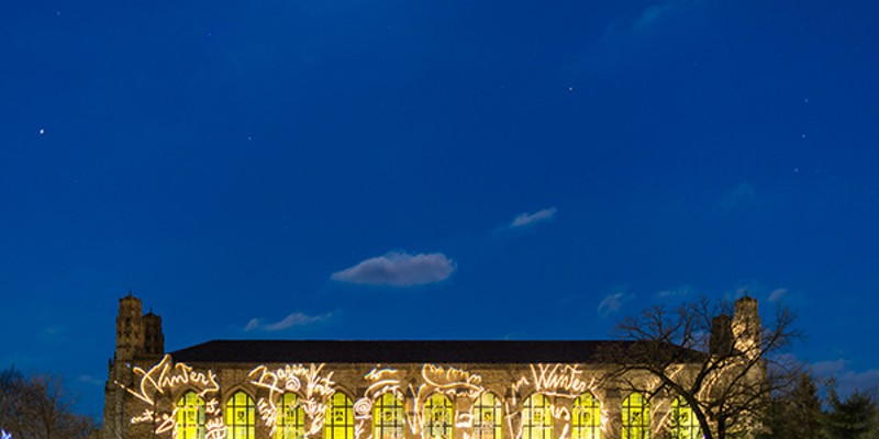 Installation by Marco Rotelli illuminates Deering Library at Northwestern University