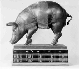 Its a bronze pig trophy named Floyd of Rosedale,  and you only get it if you win the Iowa-Minnesota game.
