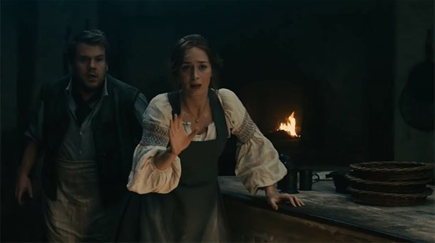 James Corden and Emily Blunt as the Baker and his wife in Into the Woods
