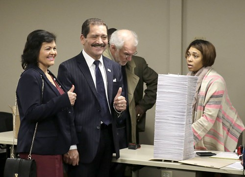 Jesus Chuy Garcia turned in his nominating petitions on Monday.