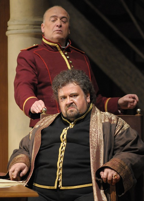Johan Botha, off his feet, and Falk Struckmann, in Lyric Operas Otello