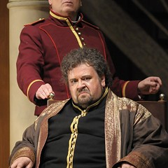 Johan Botha (seated) and Falk Struckmann, as Otello and Iago, before allergies struck