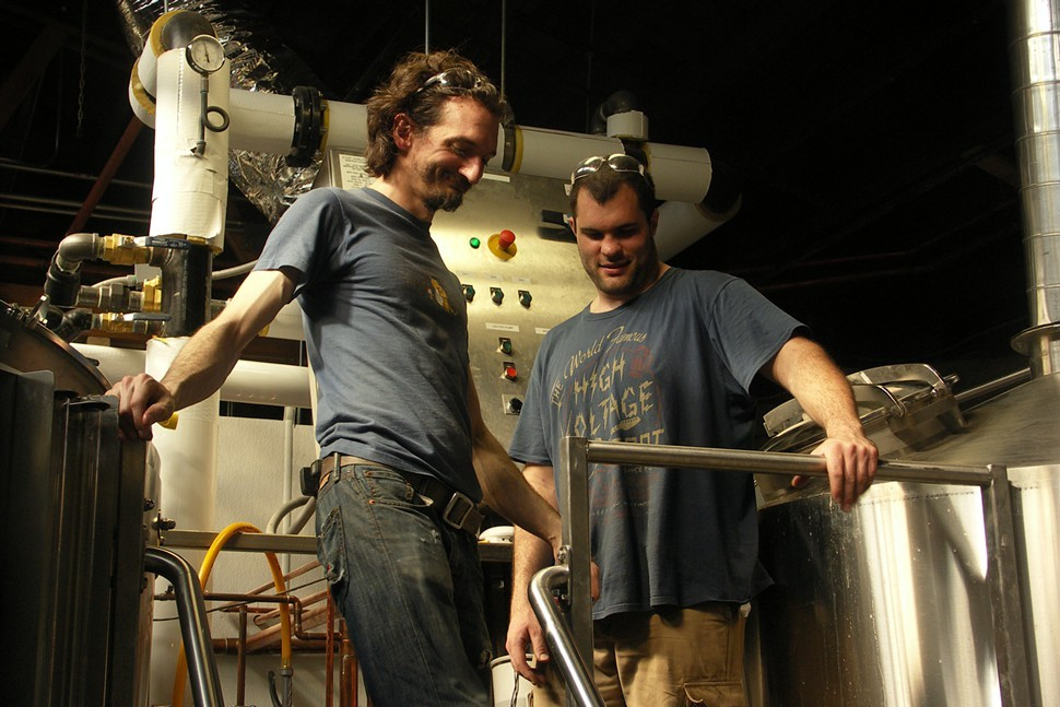 John Laffler and Dave Bleitner in the Off Color brewery last spring