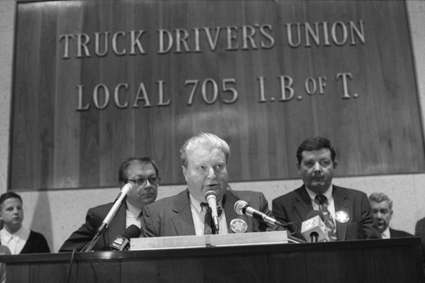 Jon Burge at a 1992 rally for his supporters - FILE