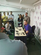 Kerry Wood discusses his retirement with the media after Friday's game. - TED COX