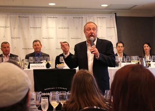 Kevin Zraly with a panel of winemakers from Codorniu Raventos.