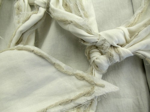 Knotted and embroidered textiles by Elizabeth Alice Crum