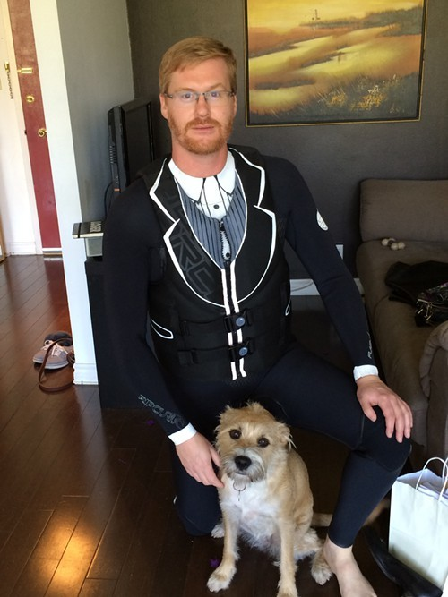 Kurt Braunohler will rock this tuxedo wetsuit on his adventure.