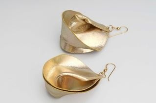 Leather fortune cookie earrings by Zaya