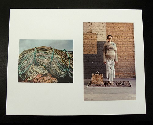 Left: photo of nautical ropes that inspired Elizabeth Alice Crums senior work (on right)