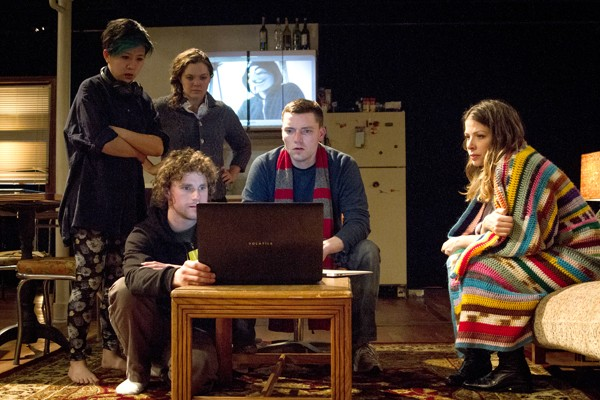 Left to right: Stephanie Shum, Will Cavedo, Caitlin Chuckta, Evan Linder, and Sarah Gitenstein in Rewilding Genius