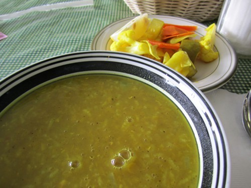 lentil soup and turshi at Uncle's Kabab