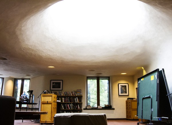 Looking south, Von Hartz's living room is illuminated by the large skylight.