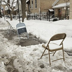 Looks like public parking spaces are just reserved for chairs now.