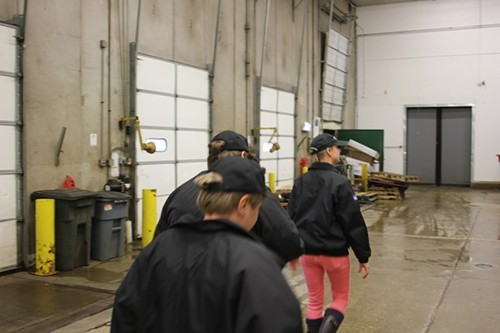 Marketing manager Stacy Schultz leads us through the loading dock.