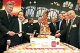 Mayor Daley (second from right) at the opening of the Chicago French Market