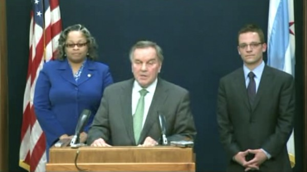 "Mayor Daley with newly appointed 29th and First Ward aldermen Deborah Graham and Proco ""Joe"" Moreno on WGN"