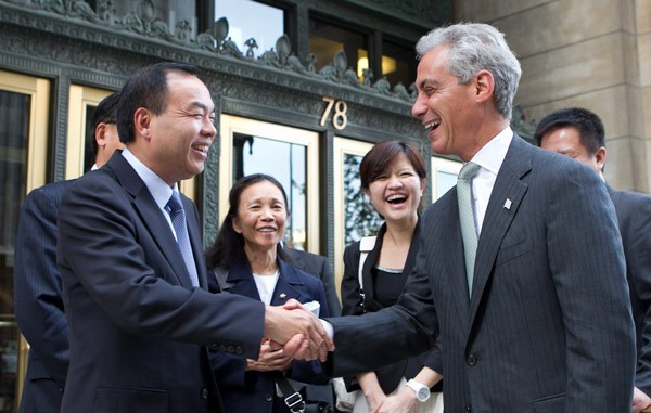 Mayor Emanuel greets Mayor Tang Liangzhi of Wuhan, China yesterday