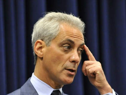 Mayor Emanuel points to where the annual budget hearings will go.