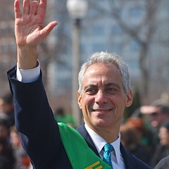 Mayor Emanuel waves to spectators in Saturday's Saint Patrick's Day parade.