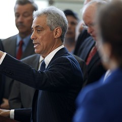 Mayor Rahm during a press conference at McCormick Place, May 16, 2013