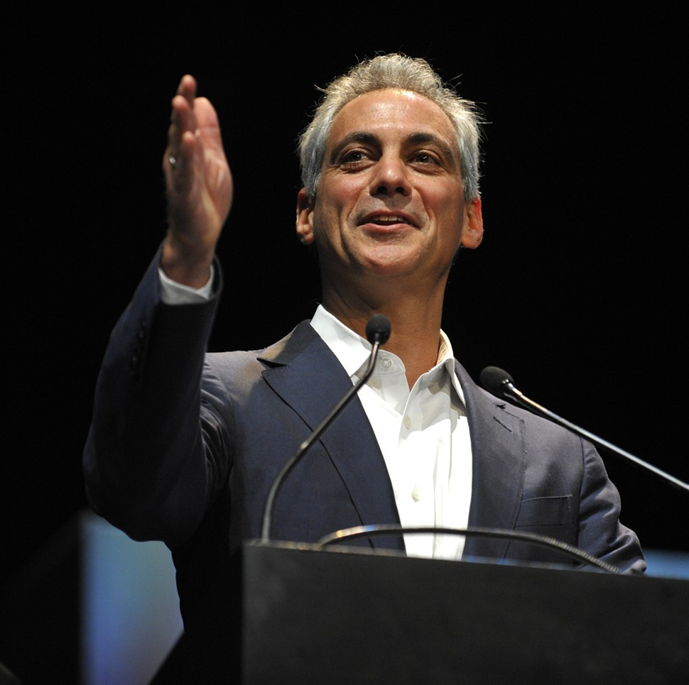 Mayor Rahm Emanuel accepts the 2012 Visionary Award Monday at the Harris Theater