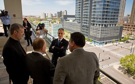 Mayor Rahm Emanuel and other officials eye the proposed site of DePauls publicly subsidized basketball arena.