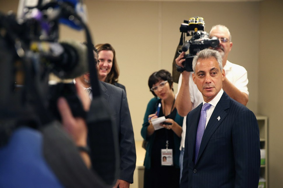 Mayor Rahm gets ready for his closings close-up.