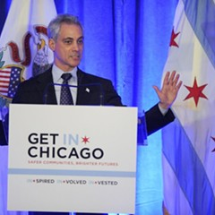 Mayor Rahm speaking during a luncheon at the Chicago Hilton in Chicago.