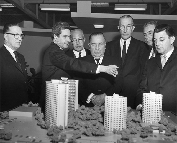 Mayor Richard J. Daley with a model of the Raymond Hilliard Homes - COURTESY CHA