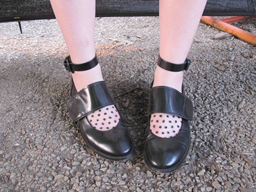 Meagans goth schoolgirl Mary Janes with see through polka-dot socks.