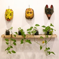 Latin American Design Aesthetics in Humboldt Park Mexican masks acquired at a thirft store. Andrea Bauer