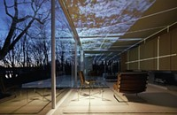 A new light installation illuminates the Farnsworth House