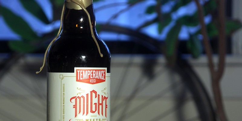 Might Meets Right imperial stout aged in High West Manhattan barrels, one of the two beers in Temperance's first bottle release