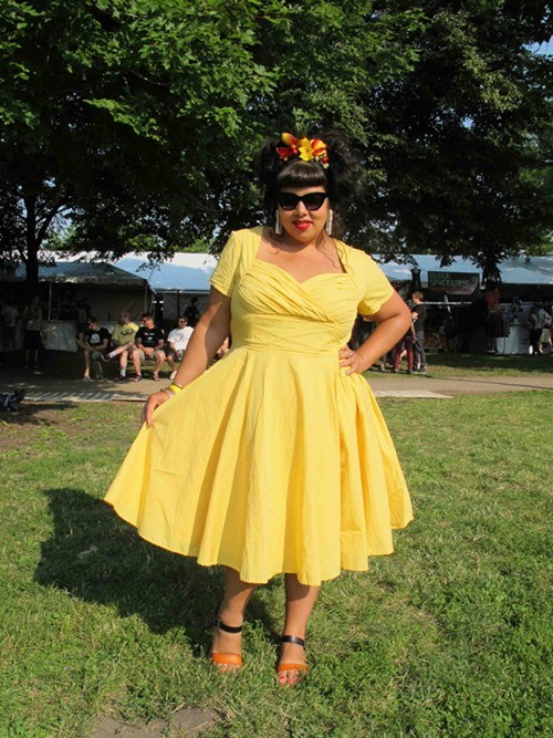 Monique. Came to see: Beck, Grimes and the Tune-Yards. Why this outfit? I was feeling very Carmen Miranda inspired.