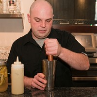 Vie's Mike Page makes the Ecto Shrub Muddle until lightly bruised. Andrea Bauer