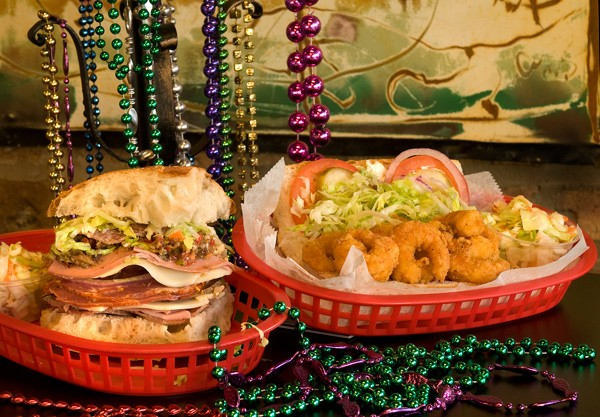 Muffuletta and shrimp po'boy at Mac and Min's