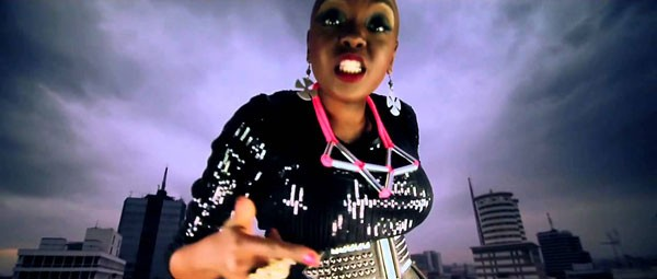 "Muthoni the Drummer Queen in the video for ""Nai Ni Ya Who?"""