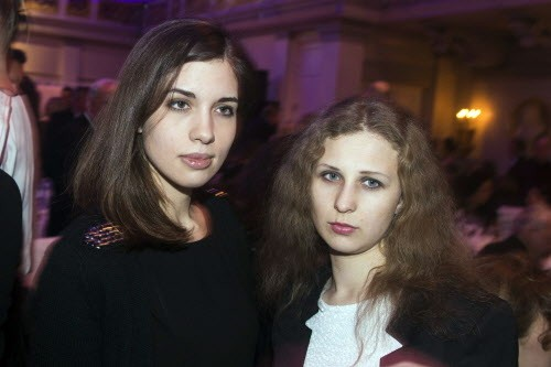 Nadezhda Tolokonnikova and Maria Alyokhina of the Russian punk protest group Pussy Riot