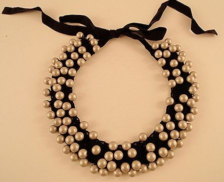 No, that's not a wreath. Crocheted and beaded necklace by Maria Calderara, available at robinrichman.com.