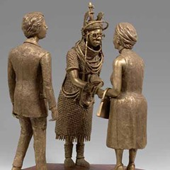 Oba Akenzua II Greeting Queen Elizabeth II by Philip Omodamwen, from Benin—Kings and Rituals: Court Arts From Nigeria