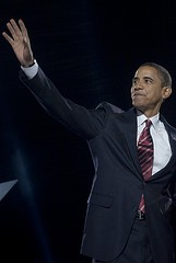 Obama in Chicago on election night in 2008