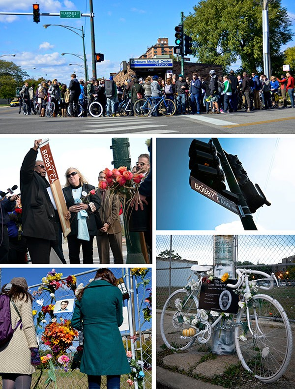 On October 25 a ceremony was held at the Clybourn-Larrabee intersection to designate it Honorary Bobby Cann Way. Alderman Walter Burnett Jr. unveiled the new street sign. - ALISON GREEN